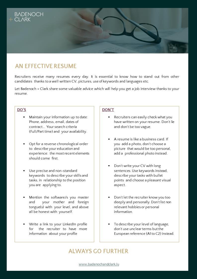 Infographie Efficient resume Badenoch Clark Luxembourg
